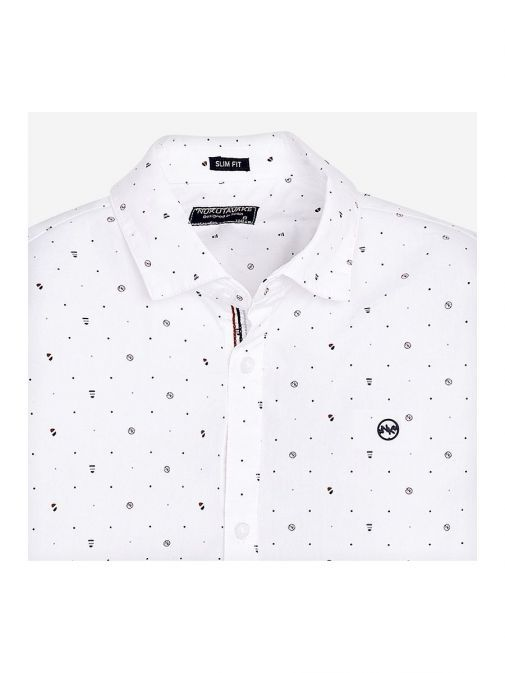 closeup of the Mayoral Long Sleeve Shirt in the White featuring shirt collar, button fastening and printed design