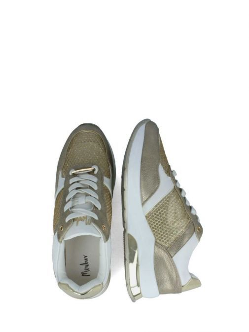 Overhead Image of Menbur Lace-Up Mesh Trainer in Gold