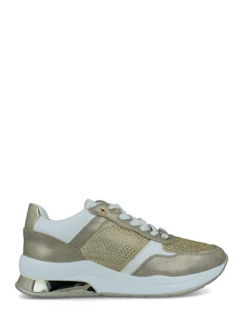 Image of Menbur Lace-Up Mesh Trainer in Gold