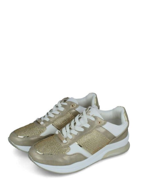 Image of pair of Menbur Lace-Up Mesh Trainer in Gold
