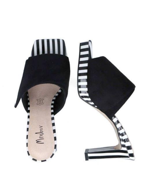 Top shot of the Menbur Slip on Stripe Detail Heel Black and White