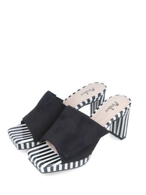 Front side shot of the Menbur Slip on Stripe Detail Heel Black and White