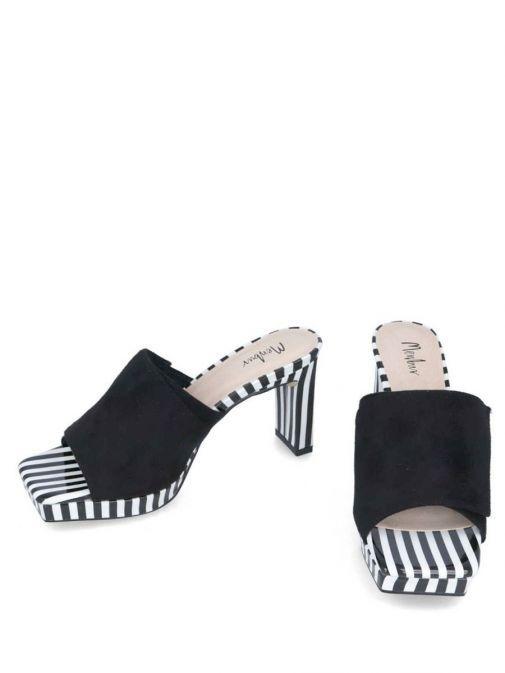 side shot of the Menbur Slip on Stripe Detail Heel Black and White