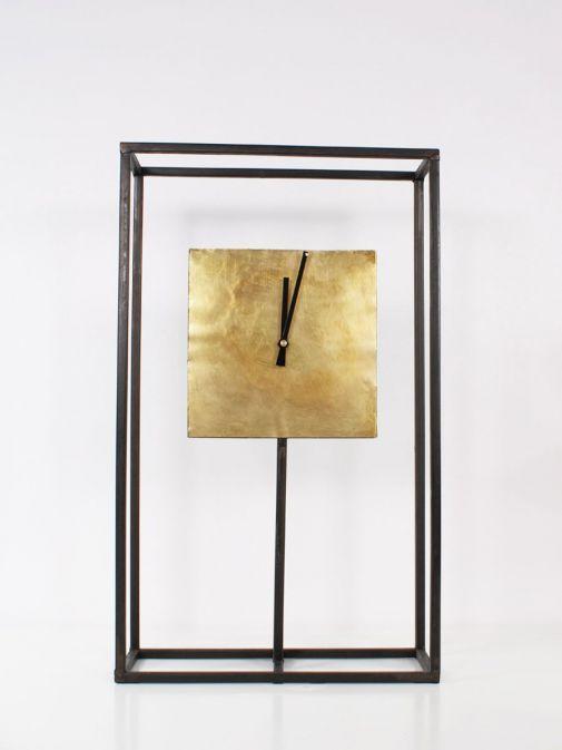 Front shot of Black Frame Gold Square Clock