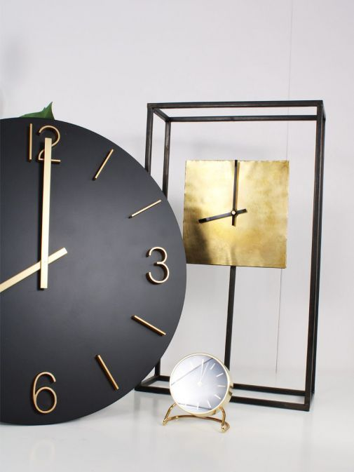 Black Frame Gold Square Clock pictured with two more clocks from range