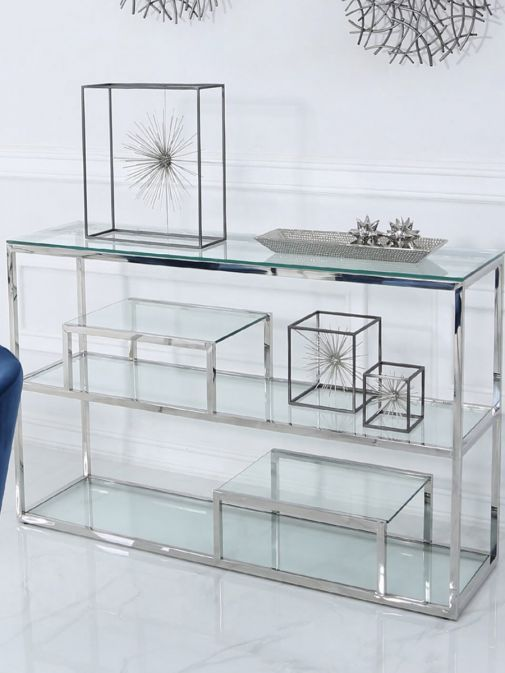 Harry Chrome Steel And Clear Glass Tiered Console Table