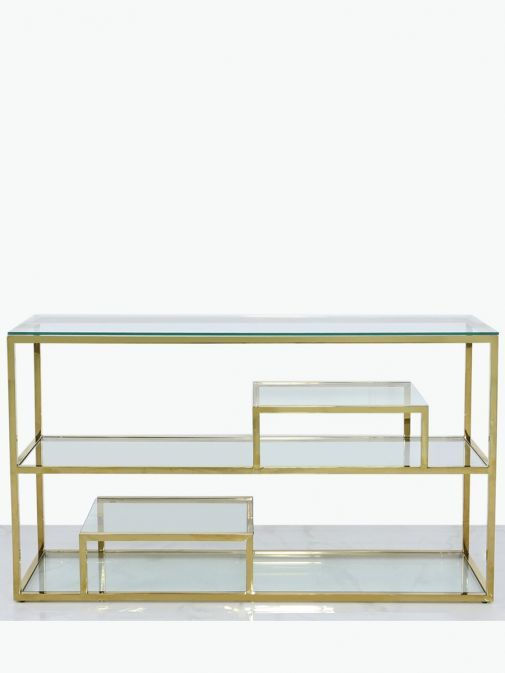 Harry Gold Steel And Clear Glass Tiered Console Table