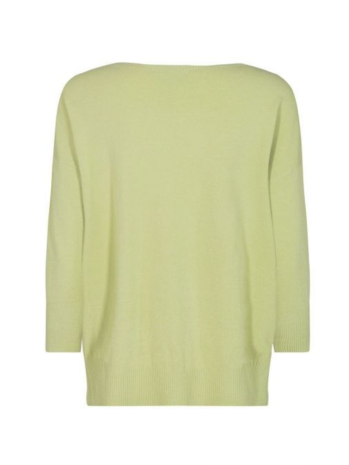 back  shot of the Mos Mosh Pitch Knit Jumper in the Green colour featuring 3/4 length sleeves, rounded neckline and flattering side slit