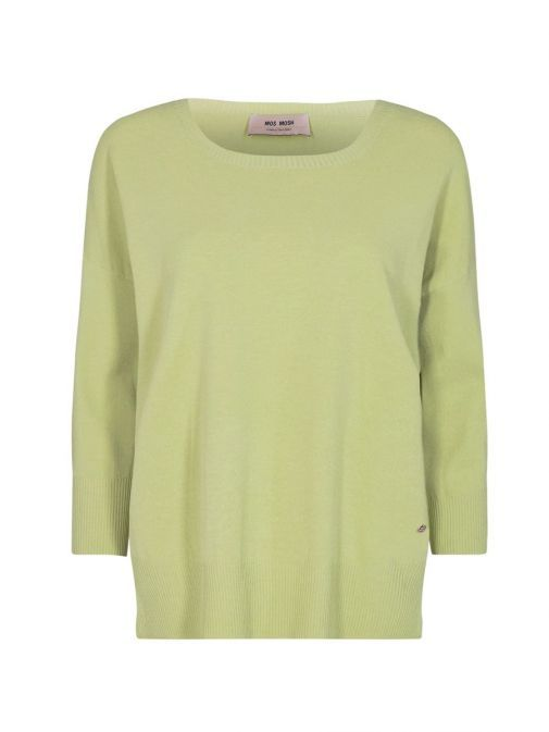 product shot of the Mos Mosh Pitch Knit Jumper in the Green colour featuring 3/4 length sleeves, rounded neckline and flattering side slit