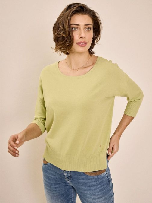 Front shot of the Mos Mosh Pitch Knit Jumper in the Green colour featuring 3/4 length sleeves, rounded neckline and flattering side slit