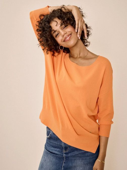 Front shot of the Mos Mosh Pitch Knit Jumper in the Orange colour features include 3/4 length sleeves, rounded neckline and flattering side slit