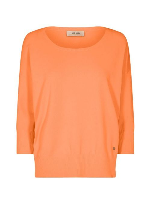 product shot of the Mos Mosh Pitch Knit Jumper in the Orange colour features include 3/4 length sleeves, rounded neckline and flattering side slit