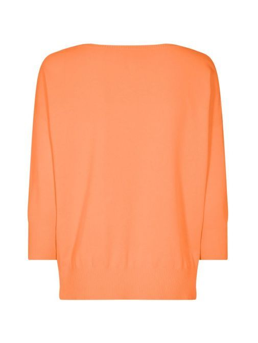 back shot of the Mos Mosh Pitch Knit Jumper in the Orange colour features include 3/4 length sleeves, rounded neckline and flattering side slit