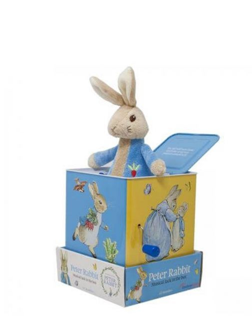 Side shot of Peter Rabbit Musical Jack in the Box
