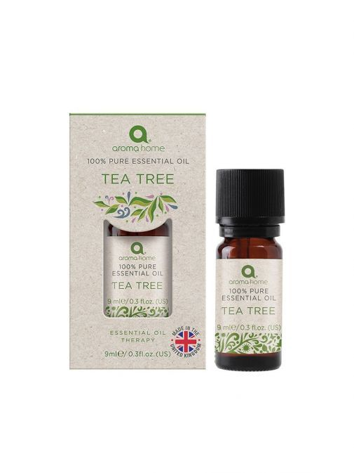Image of Pure Essential Oil Tea Tree in packaging and also outside of packaging
