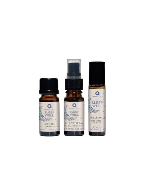Image of 3 small bottles of oils as  part of the Pure Essential Oils Sleep Well 3 Steps Kit