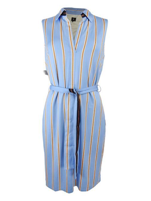 K Design Blue Striped Sleeveless Dress