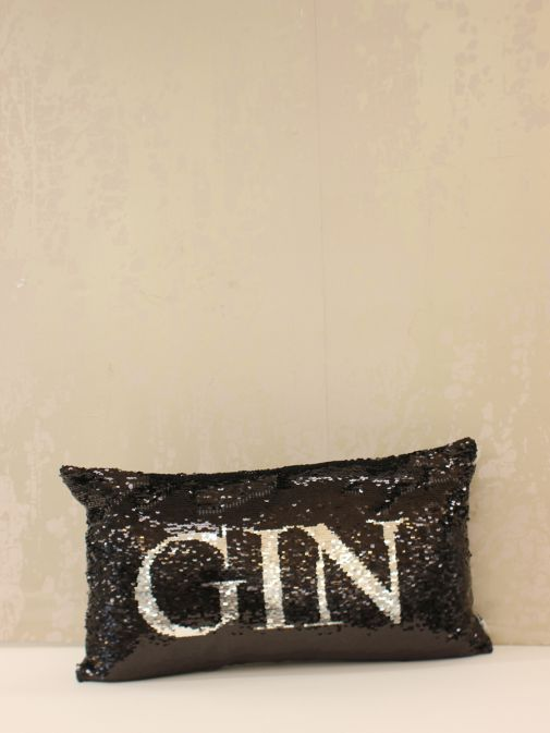 Black Gin/Prosecco Double Sided Sequin Cushion rc-drinkies-black-black