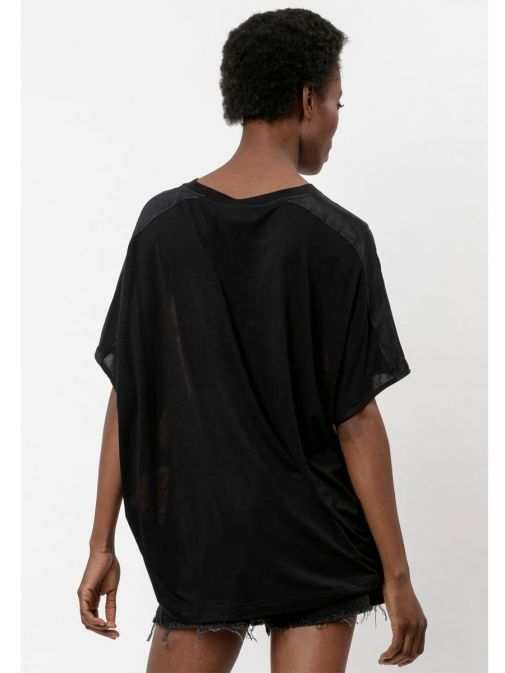 back shot of the Religion Ascent Top Multi-Coloured featuring a rounded neckline and short sleeves