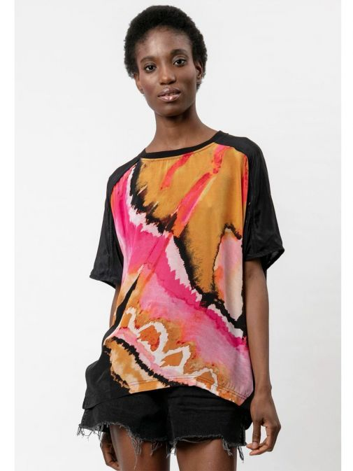Front shot of the Religion Ascent Top Multi-Coloured featuring a rounded neckline, short sleeves and printed design across the front