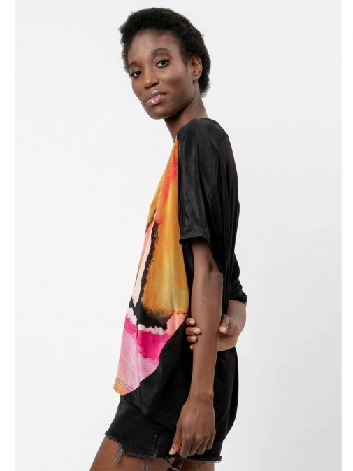 side shot of the Religion Ascent Top Multi-Coloured featuring a rounded neckline, short sleeves and printed design across the front