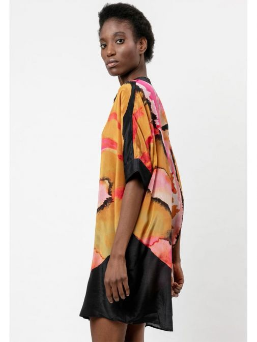 side shot of the Religion Ascent Tunic Multi-Coloured featuring a button through placket, an oversized fit, grandad collar and pockets