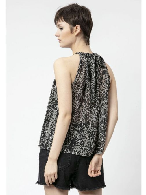 back shot of the Religion Contour Top Imprint in the Black colour featuring animal print design and a halterneck design