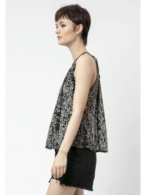 side shot of the Religion Contour Top Imprint in the Black colour featuring animal print design and a halterneck design