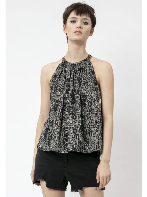 Front shot of the Religion Contour Top Imprint in the Black colour featuring animal print design and a halterneck design