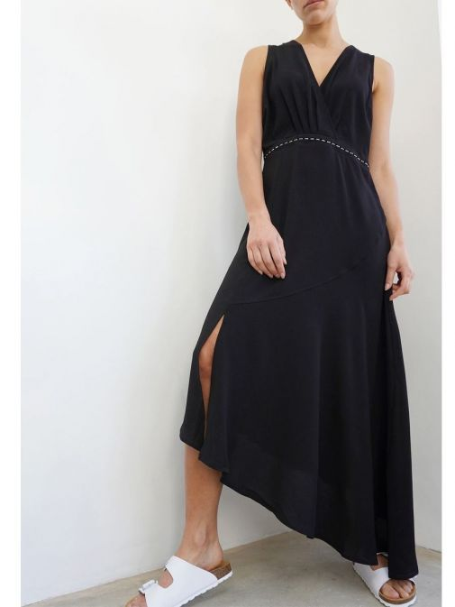 Front shot of the Religion Division Dress in the Black Colour featuring a v-neckline, a-symmetric hem and stud detailing
