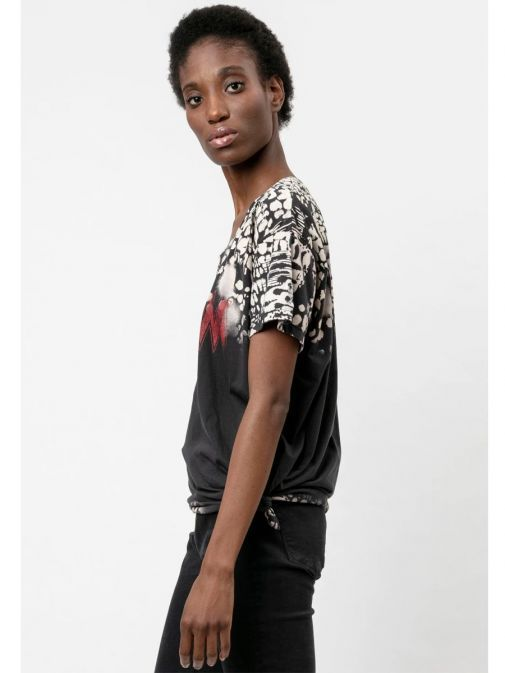 side shot of the Religion Dream T-Shirt  in the Black colour featuring animal print, boyfriend fit, short sleeves and rounded neckline
