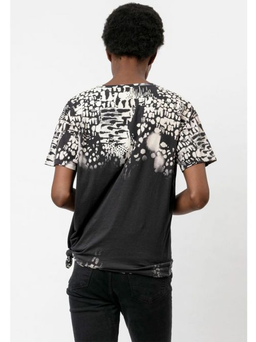 back shot of the Religion Dream T-Shirt  in the Black colour featuring animal print, boyfriend fit, short sleeves and rounded neckline
