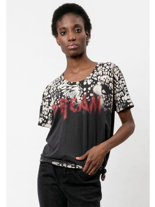 Front shot of the Religion Dream T-Shirt  in the Black colour featuring animal print, boyfriend fit, short sleeves and rounded neckline