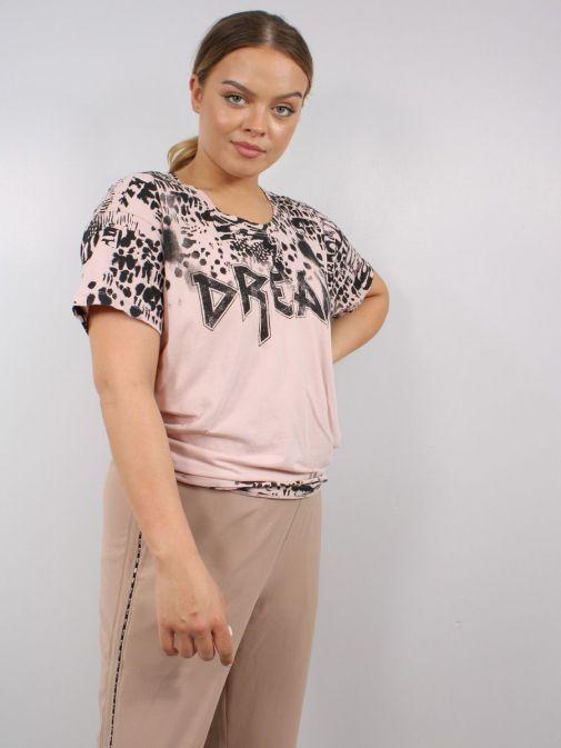 Model wearing Religion Dream T-Shirt in Rose Mist