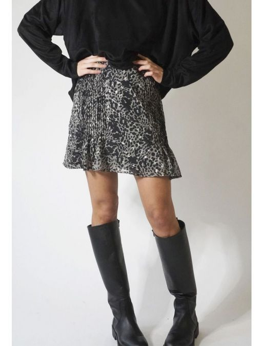 front shot of the Religion Exceptional Skirt Imprint in the Black colour featuring animal print, and pleat detailing at the front