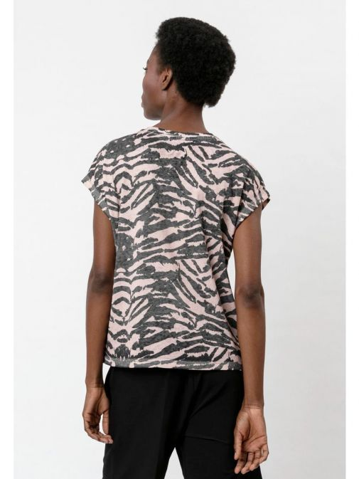 back shot of the Religion Freedom Top in the Pink colour featuring animal print, round neckline and short sleeves
