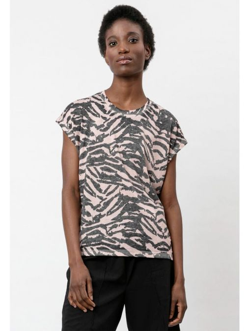 Front shot of the Religion Freedom Top in the Pink colour featuring animal print, round neckline and short sleeves