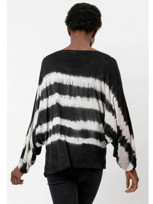 back shot of the Religion Manifest Top Washed in the Black colour featuring a wide round neckline, long batwing sleeves and a tie-dye print
