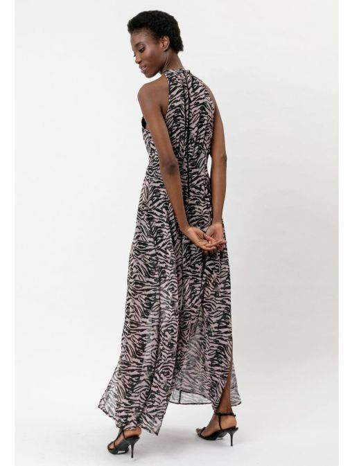 back shot of the Religion Noir Maxi Dress in the Pink colour featuring  animal print, halterneck, fitted waist and flared skirt with high slits