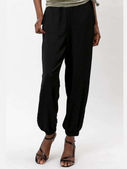 Front shot of the Religion Outlook Trousers in the Black featuring elasticated waist and ankle cuffs