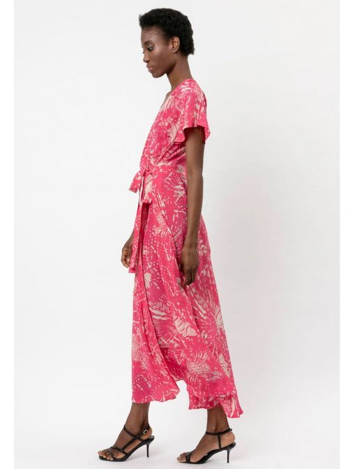 side shot of the Religion Roots Wrap Dress in the Pink colour featuring abstract print, voluminous skirt, short sleeves and has a wrap fastening