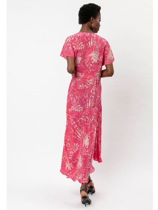 back shot of the Religion Roots Wrap Dress in the Pink colour featuring abstract print, voluminous skirt, short sleeves and has a wrap fastening