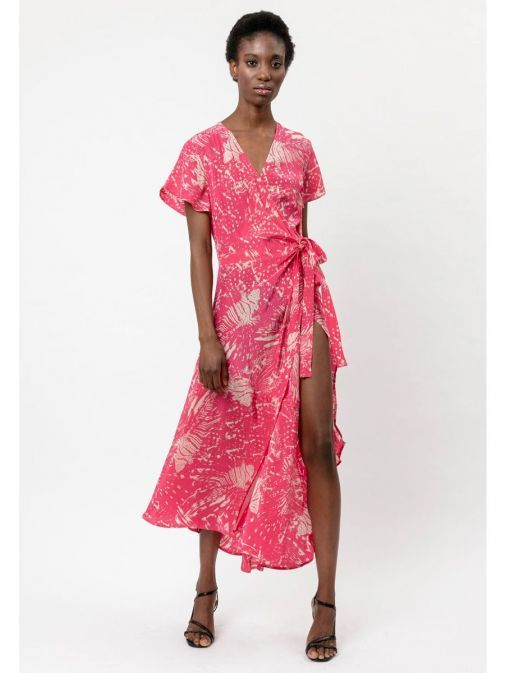 Front shot of the Religion Roots Wrap Dress in the Pink colour featuring abstract print, voluminous skirt, short sleeves and has a wrap fastening