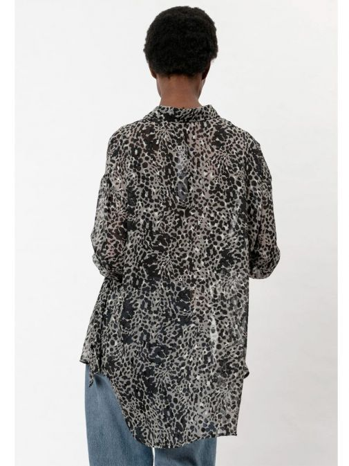 back shot of the Religion Storm Shirt in the Black colour featuring animal print, classic shirt collar, button-through placket, long sleeves and button detailing