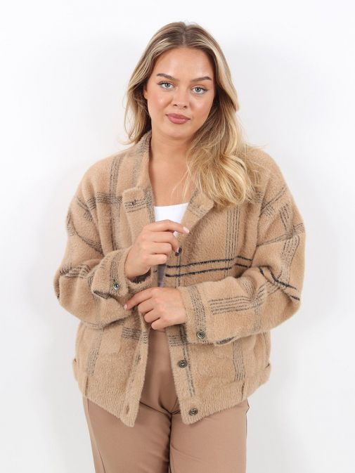 Front Image of Rino & Pelle Checked Birch Knitted Jacket Brown