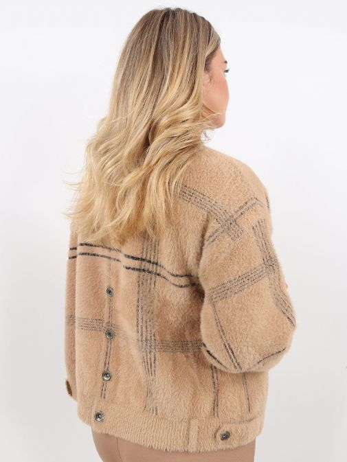 Back Image of Rino & Pelle Checked Birch Knitted Jacket Brown