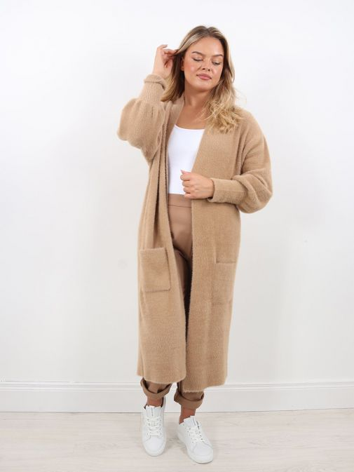 Front Detail Image of Rino & Pelle Liset Long Knitted Cardigan Brown