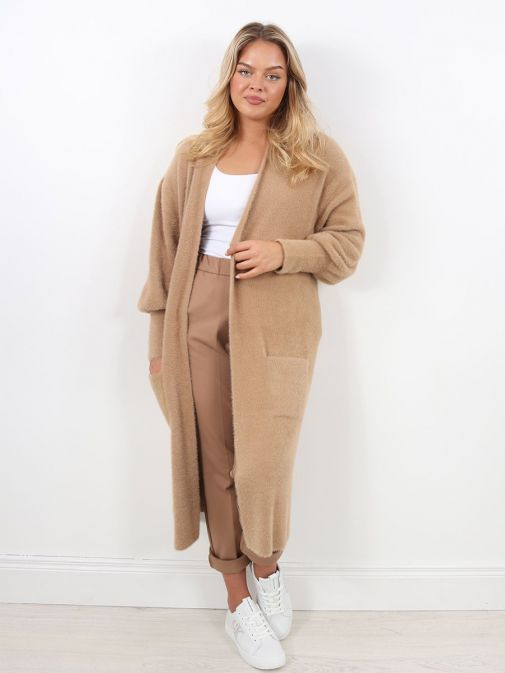 Front Image of Rino & Pelle Liset Long Knitted Cardigan Brown