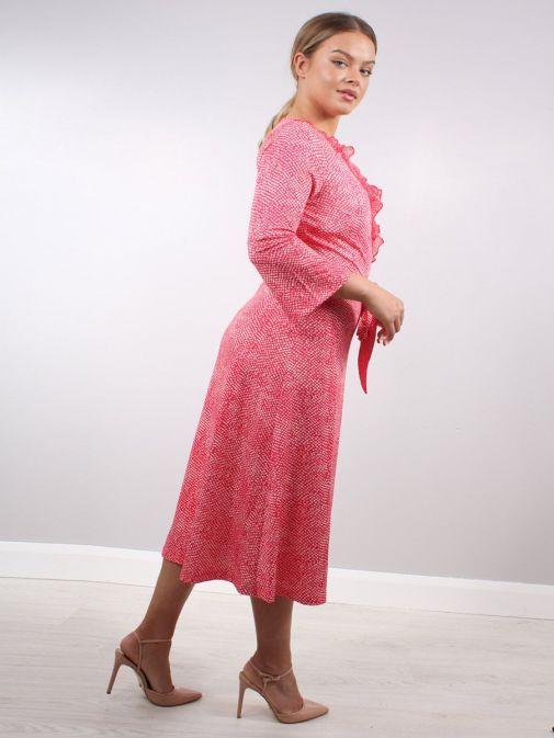 Side shot of Model wearing K Design Ruffle Detail Midi Dress in Red