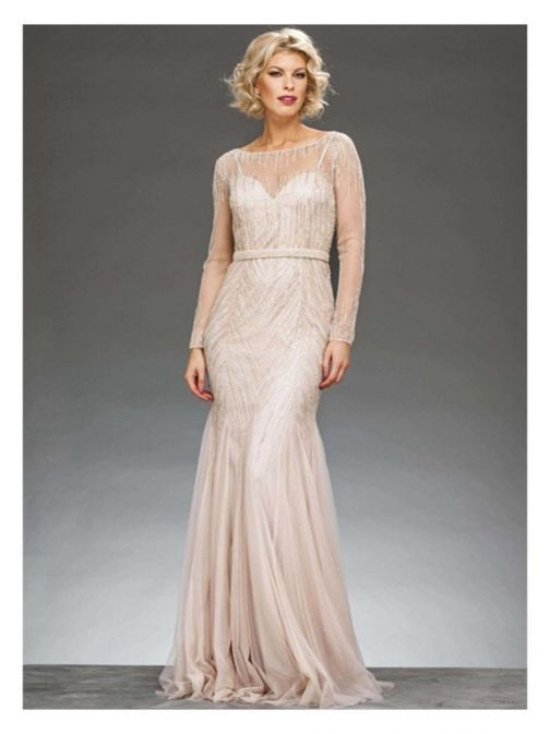 Front shot of Rosa Clara Full Length Beaded Dress in Champagne colour, Style 1T123